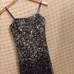Adrienna Pappel Navy/Sequin Long Ballgown Size 4